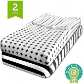 Changing Pad Cover, Cradle Bassinet Sheets Fitted Jersey Cotton (2 Pack) Black, White by Ziggy Baby