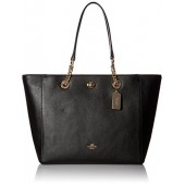 COACH Womens Pebbled Turnlock Chain Tote