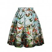 ZIOOER Women's Elastic Waistband Digital Print Flared Pleated Casual Skirt