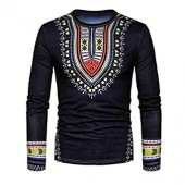 IEason Men Blouse Men's Casual African Print O Neck Pullover Long Sleeved T-Shirt Top Blouse