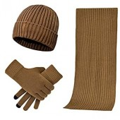 3 Pieces Winter Beanie Hat Scarf Touch Screen Gloves Knitted Cap Set Unisex for Men Women