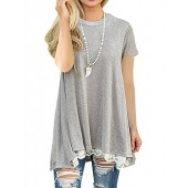 Roaays M Womens Casual Tops Short Sleeve Lace A-line Tunic Blouse