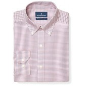 Buttoned Down Men's Tailored Fit Button-Collar Pattern Non-Iron Dress Shirt, Berry/Red/Navy Small Tatersol, 16