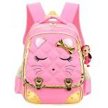Cat Face Waterproof Kids Backpack School Bookbag for Primary Girls Students Pink