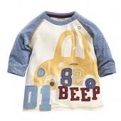Little Boys Beep Car Printed Pullover Cotton Sweatshirt T-shirt Cartoon Pajamas