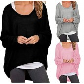 SWISSWELL 3 Pack Oversized Baggy Shirts Batwing Sleeve Women Pullover Casual Top Blouse T-Shirt