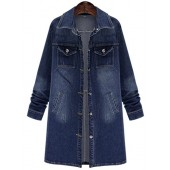QZUnique Women Long Denim Jacket Casual Loose Long Sleeve Jean Jacket Plus Size Ladies Denim Coat Outwear