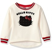 Hello Kitty Girls' Sweatshirt with Sugar Glitter Flocking and Fashion Rib