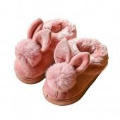 LINKEY Toddler Girl Winter Bunny Pom Pom Fur Lining Slip on Loafer Flat Slides Slippers