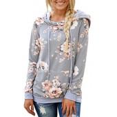 Angashion Women Hoodies-Tops- Floral Printed Long Sleeve Pocket Drawstring Sweatshirt With Pocket