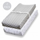 Changing Pad Cover, 2 Pack, 100% Jersey Cotton Unisex Sheets for Baby Girl and Boy, Grey Arrows and Polka Dots by Home And Trends