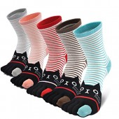 Ladies/Womens Stripe Cat Design Five Finger Athletic Running Toe Socks US 4-10