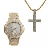 One of Ten Jesus Pieces you must own!!! Hip Hop Iced Out Cross Charm on Rope Necklace with Bling Watch fit for a King!! 8475-SSS42 Gold