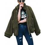 Teafor Womens Fashion Long Sleeve Lapel Zip Up Faux Shearling Shaggy Oversized Coat Jacket with Pockets