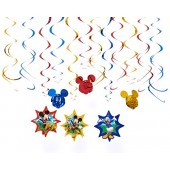 Disney Mickey Mouse Birthday Party Hanging Swirl Ceiling Decoration