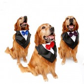 Pet Costumes Large Big Dog Tuxedo Bowtie Bandana Formal Party Neckwear Scarf Pets Clothes Cosplay Accessories