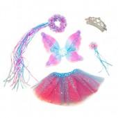 5 Piece Sparkling Magic Hot Pink and Blue Fairy Princess Set