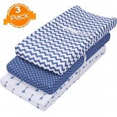 Changing Pad Cover Set | Cradle Bassinet Sheets/Change Table Covers for Boys & Girls | Super Soft 100% Jersey Knit Cotton | Navy and White | 150 GSM | 3 Pack