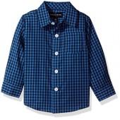 French Toast Baby Boys' Long Sleeve Woven Yarn-Dye Shirt