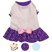Blueberry Pet Pack of 1 Dog T-Shirt with Ruffle Polo Dress or Bow Dress Design
