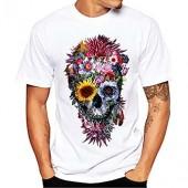 Realdo Men's Casual Short Sleeve T-Shirt, Fashion Slack O-Neck Terror Skull Print Top Tee