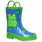 Puddle Play Kids Boys' Green Frog Character Printed Waterproof Easy-On Rubber Rain Boots (Toddler/Little Kids)