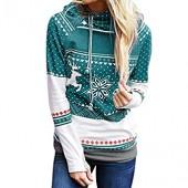 Women Long Sleeve Hoodies Christmas Reindeer Printing Pullover Teen Girls Sweatshirts Cute Shirts Sweater Blouse Tops