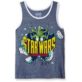 Star Wars Big Boys' 80s Style Logo With X-Wing Fighter Tank
