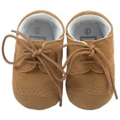 Baby Lace Up Brogue Shoes Medallion Wingtip Nubuck Crib Dress Shoe Moccasins