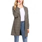 979ab26d89e etuoji Women Casual Notch Lapel Plaid Single-Breasted Wool Blend Coat  Outerwear Top