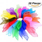 Shappy 28 Pieces Dance Scarves Square Juggling Scarf Magic Scarves, 14 Colors, 24 by 24 Inches