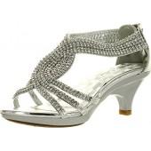 JJF Shoes Angel-37K Little Girl Mid Heel Rhinestone Pretty Sandal Dress Shoes