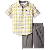 Calvin Klein Boys 2 Pieces Shirt Short Set-Printed