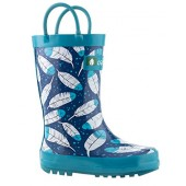 Oakiwear Kids Rubber Rain Boots With Easy-On Handles | Construction Vehicles, Polka Dot, Feathers, Frozen