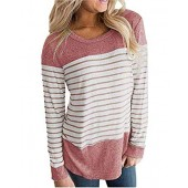 Women's Long Sleeve and Short Sleeve Striped Shirt Casual T-Shirts Blouse Flowy Top