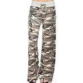 Sexymee Women's Comfy Stretch Floral Print Drawstring Long Wide Leg Lounge Pants