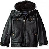 d9e397b82 London Fog Boys' Faux Leather Bomber Jacket with Hood