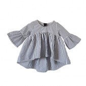 Baby Girl Stripe Top Blouse Autumn Ruffle Sleeve Shirt Casual Clothes