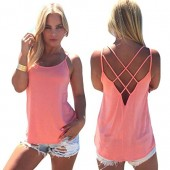 Famulily Women's Cute Criss Cross Back Tank Tops Loose Hollow Out Camisole Shirt