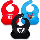 Kids N' Such Baby Bibs for Boys 3 Pack- 100% Food Grade Silicon- Waterproof with Food Catcher- Adorable Designs for Your Hip Baby Boy