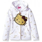 Hello Kitty Girls' Zip up Hoodie With Sequin Applique