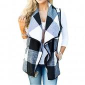 FOXRED Women's Turn-Down Collar Casual Slash Hem Plaid Sleeveless Open Front Cardigan Vest With Pocket (S-2XL)