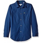 Lacoste Boys' Long Sleeve Poplin Check