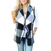 Yanekop Womens Sleeveless Open Front Hem Plaid Vest Cardigan Jacket With Pockets