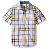 Gymboree Big Boys' Plaid Short-Sleeve Woven Shirt with Pocket