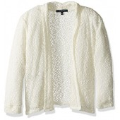 My Michelle Big Girls' Lightweight Crochet Knit Drape Front Sweater