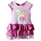 Disney Girls' Beautiful Sister Elsa and Anna Eyelet and Satin Dress
