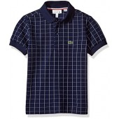 Lacoste Boys' Short Sleeve Windowpane Check Polo Shirt