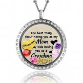 Unique for Grandma Necklace | Perfect Gift for Mom Necklace | Floating Charm Locket Necklace Gifts for Mom | Mom Heart Necklace | Grandma Gifts Mother Necklace Grandmother Necklace Filled with Charms