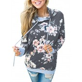Famulily Women's Floral Printed Casual Long Sleeve Hoodie Pullover Sweatshirts
